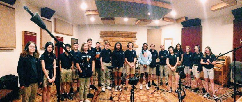Kiddos in the recording studio.